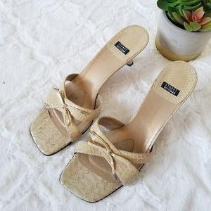 Stuart Weitzman Leather Scale Textured Bow Sandals